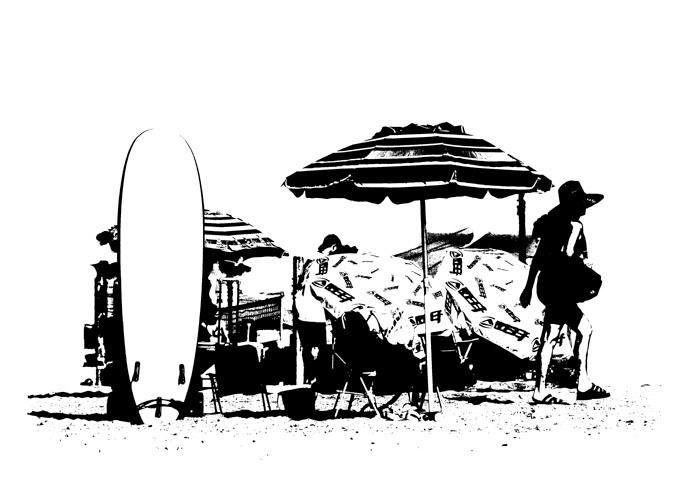 Oil Blot Beach Scene